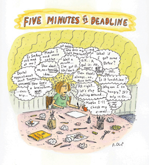 Roz Chast's Five Minutes to Deadline, watercolor and pen on paper, 2002.