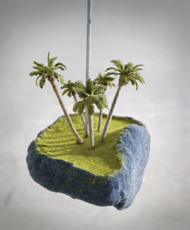 A detail of Air Stream, 2005,   by Rob de Mar, who uses a variety of materials, including model-making supplies, to create his miniature landscapes.