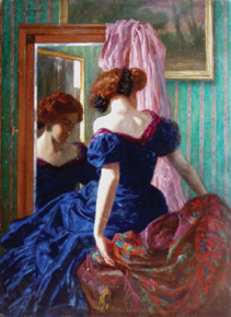 The signature of Russian painter Boris Kustodiev (1878–1927) was added to German painter Ludwig von Langenmantel's graceful Woman in a Blue Dress, and the painting was retitled At the Mirror.