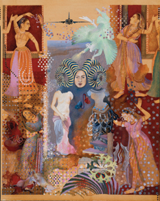 Shahzia Sikander combines elements from Hindu mythology, Persian tales, and personal experience in paintings such as Pleasure Pillars, 2001.