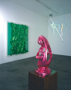 Life Enigma, Anselm Reyle's 2005 installation at Berlin's Galerie Giti Nourbakhsch, featured hanging neon tubes, chromed abstract sculptures, and paintings that incorporated sheets of reflective Mylar.