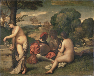 Titian's Pastoral Concert, ca. 1510, is the most Giorgionesque of all his paintings.