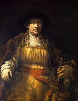 The great self-portraitist, 34 years old in 1640, dresses up as an Oriental potentate in 1658.
