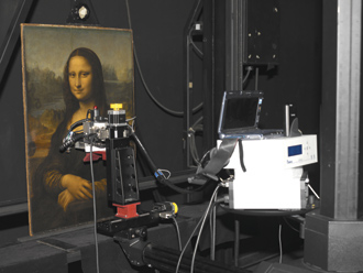 Out of the box and ready for her close-up: the Mona Lisa undergoes examination by X-ray fluorescence.