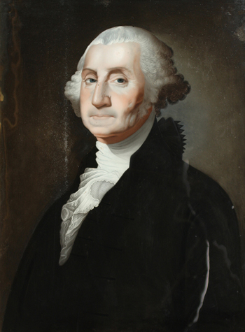 A reverse painting on glass, 1800-5, attributed to the Chinese artist Foeiqua, is an unauthorized copy of Gilbert Stuart's portrait of Washington.