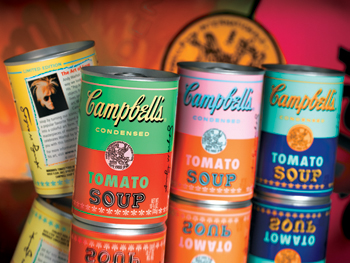 Limited-edition tomato soup cans produced by the Campbell Soup Company in 2004.
