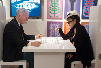 "Dealer Francis Naumann played Yoko Ono on her all–white chess board, Play It by Trust, 2002, during the exhibition ""Marcel Duchamp: The Art of Chess"" at his gallery last fall."