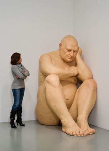 Ron Mueck's Untitled (Big Man), 2000, is among the works basketball star Shaquille O'Neal put in the show he's curating. LEE STALSWORTH/HIRSHHORN MUSEUM AND SCULPTURE GARDEN, SMITHSONIAN INSTITUTION, WASHINGTON, D.C.