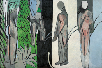 Matisse worked on Bathers by a River in 1909–10, returned to it in 1913, and completed it in 1916–17.