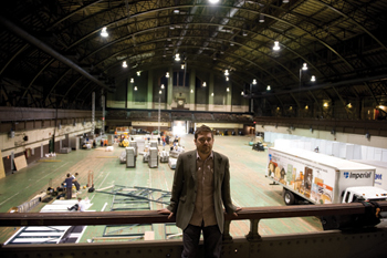 "Chief curator Nato Thompson at New York's Park Avenue Armory, site of Democracy in America's ""Convergence Center."""