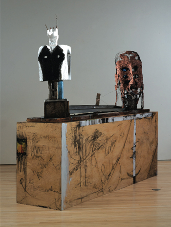 In My Skull Is Too Small, 2009, the figures resemble archeological relics but are composed of modern-day junk and suggest the struggle between survival and death.