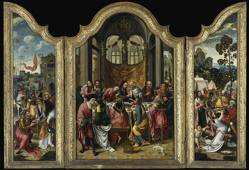 In a Mannerist Last Supper by an Antwerp painter of the early 16th century, there is a profusion of everything: people, objects, and architecture, as well as food.