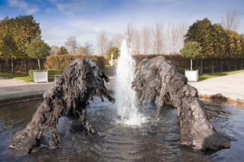 "Benglis has lately been involved in constructing what she calls ""hydraulic sculptures,"" like the cast-bronze fountain North South East West, 2009, in the garden of the Irish Museum of Modern Art in Dublin."