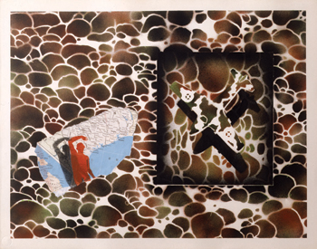 David Wojnarowicz, Untitled, 1982, color stencil print with spray paint and collage, in the collection of the Whitney Museum.