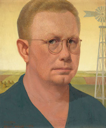 "In Wood's Self-Portrait, 1932–1941, biographer R. Tripp Evans finds a ""combination of gravity and uncertainty in its starkest terms."""
