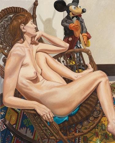 Philip Pearlstein, Model with Mickey Mouse on Unicycle and Wicker Chair, 2009.