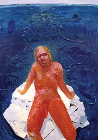 "Frank on a Rock, 2002, from the ""Frank from Observation"" series, for which Dana Schutz imagined her subject was the last man on earth and herself the last painter."