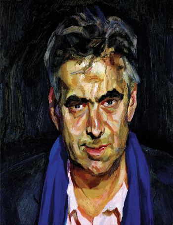 Freud's portrait of Gayford, Man with a Blue Scarf, 2004.