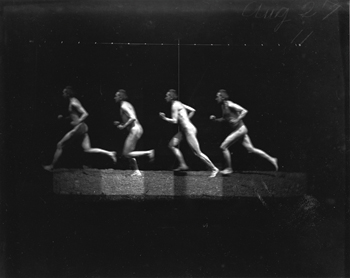 Eakins's images of the human figure have often been interpreted as reflections of his sexuality rather than as innovative ways to use photography to document motion. The artist photographed himself running in Motion Study #446, 1885.