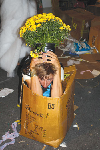 "Attendees at Oliver Herring's ""TASK"" parties make up assignments and carry them out: (Be a potted plant) scare someone, at FLUXspace in Philadelphia in 2009."