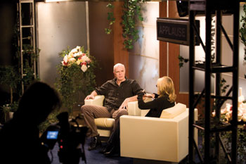 Tom Noonan and Jill Clayburgh in Fast's Talk Show, 2009, originally recorded before an audience for Performa 09.
