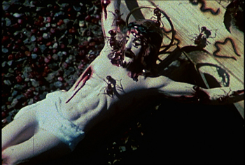 "A still from David Wojnarowicz's A Fire in My Belly, 1986–87, shows a scene critics have charged is ""anti-Catholic."""