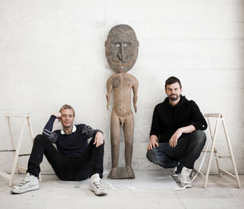 Michael Elmgreen (left) and Ingar Dragset remade the Danish and Nordic Pavilions at the 2009 Venice Biennale into the home and exhibition space for a fictional art collector; the traditional Polynesian sculpture was installed in the living room.