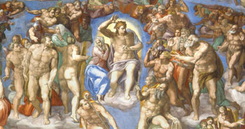 Christ raises the blessed and casts down the damned in Michelangelo's Sistine Chapel fresco The Last Judgment (detail).