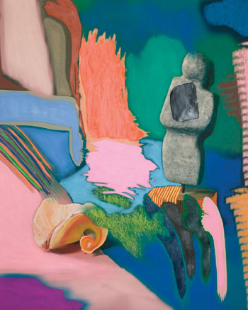 "Sam Falls's Untitled (statue and shell), 2010, combines acrylic and pastels over a Photoshop-painted archival-pigment-print photograph. ""If we're dealing with a contemporary medium where there's still room for experimentation and new printing processes, I think that should be leading to different esthetics,"" says Falls."