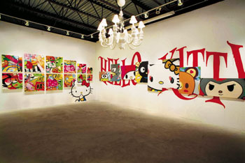"A number of street artists participated in Sanrio's ""Small Gift"" show in Miami, including POSE, CRASH, and RISK. Adam Wallacavage created the sculpture Hello Kitty White Chandelier, 2010."