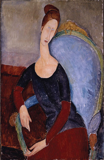 Modigliani's Portrait de Jeanne Hébuterne assise dans un fauteuil, an image of his girlfriend painted in 1918, two years before his death and her suicide.