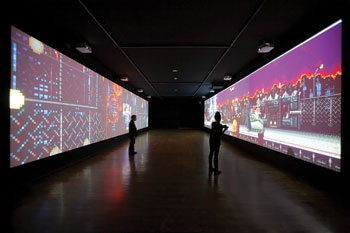 At PS1 in New York, Feng Mengbo's Long March: Restart, 2008, was displayed on two screens facing each other, so that players had to turn around when moving to the next level.