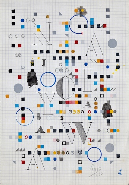 Antonio Asis, Maquette 1, # 3056, 1961, acrylic on paper. COURTESY KABE CONTEMPORARY