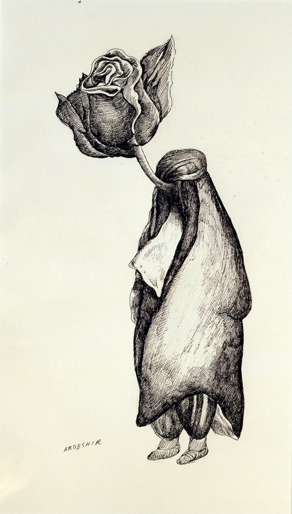 Ardeshir Mohassess, Untitled, 1978. Ink on paper. Katayoun Beglari-Scarlet and Peter Scarlet Collection