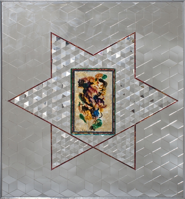 Monir Shahroudy Farmanfarmaian, Untitled, c. 1975–1976, mirror, reverse-glass painting, plaster, and wood.