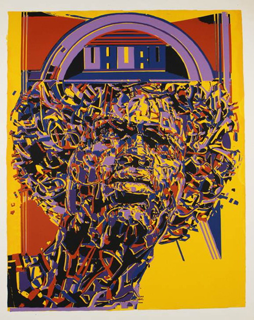 Nelson Stevens, Uhuru, 1971, screenprint on paper. BROOKLYN MUSEUM, GIFT OF R.M. ATWATER, ANNA WOLFROM DOVE, ALICE FIEBIGER, JOSEPH FIEBIGER, BELLE CAMPBELL HARRISS, AND EMMA L. HYDE, BY EXCHANGE; DESIGNATED PURCHASE FUND, MARY SMITH DORWARD FUND, DICK S. RAMSAY FUND, AND CARLL H. DE SILVER FUND, 2012.80.41.