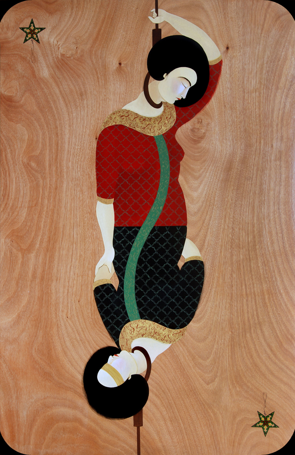 Hayv Kahraman, Migrant 1, 2010, oil on panel. COURTESY OF THE ARTIST.
