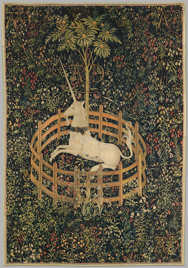 The Unicorn in Captivity South Netherlandish, ca. 1495–1505, wool, silk, and silver and gilded-silver wrapped thread. The Metropolitan Museum of Art, Gift of John D. Rockefeller Jr., 1937. © The Metropolitan Museum of Art, New York