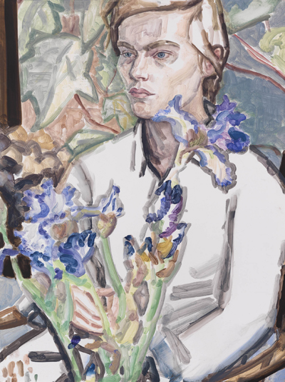 Elizabeth Peyton, Irises and Klara, Commerce St., 2012, oil on panel. COLLECTION OF EMMANUEL ROMAN, PROMISED GIFT TO THE TATE GALLERY. COURTESY MICHAEL WERNER GALLERY, NEW YORK AND LONDON.