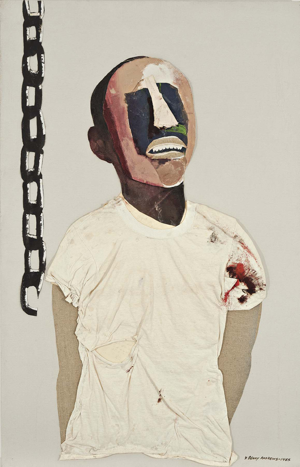 Benny Andrews, Study for Portrait of Oppression (Homage to Black South Africans), 1985, oil on canvas with painted fabric and paper collage. COURTESY OF MICHAEL ROSENFELD GALLERY LLC, NEW YORK, NY.