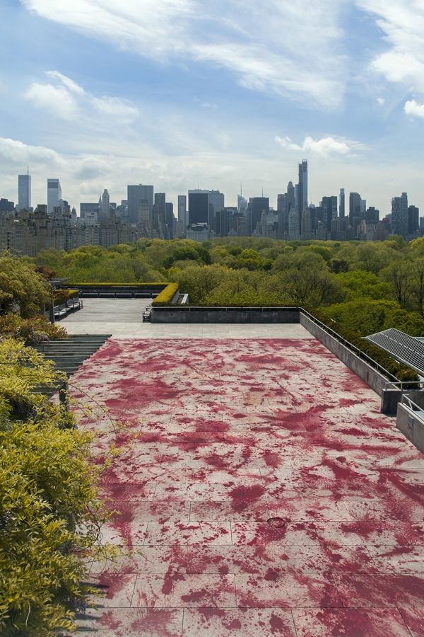 Imran Qureshi, And How Many Rains Must Fall before the Stains Are Washed Clean, installation view, 2013, acrylic. COMMISSIONED BY THE METROPOLITAN MUSEUM OF ART, NEW YORK FOR THE IRIS AND B. GERALD CANTOR ROOF GARDEN.