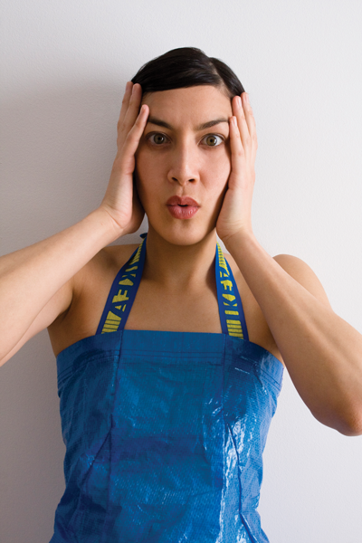 Adriana Valdez Young fashioned a dress from IKEA's blue-tarp shopping bags