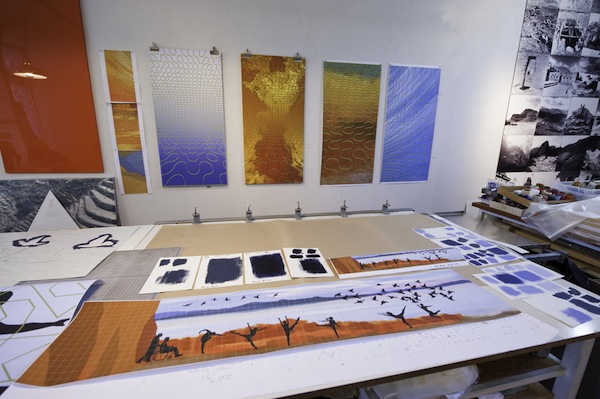 Bliss's studio in Salt Lake City. On the table are studies for her mural Let Their Spirits Soar, 2010, for the University of Utah. COURTESY DOUGLAS BARNES.