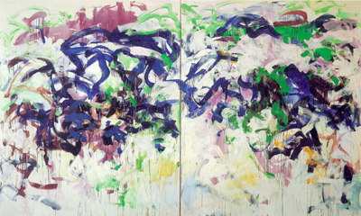 Joan Mitchell, Ready for the River, diptych, 1987-1988, oil on canvas. ©ESTATE OF JOAN MITCHELL. IMAGE COURTESY OF THE JOAN MITCHELL FOUNDATION AND CHEIM & READ GALLERY, NEW YORK.