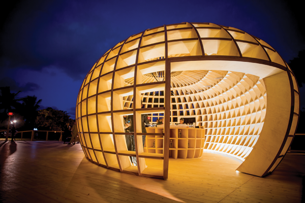 Güiro, 2012, an art-bar installation presented at Art Basel Miami, was inspired by the güiro, a Cuban percussion instrument made from the shell of a tropical fruit.