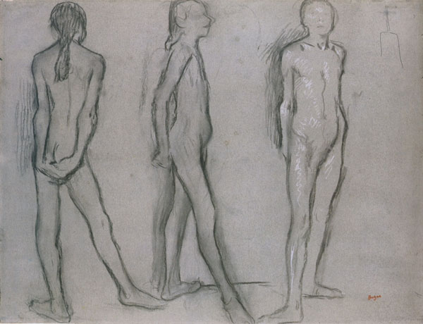 The 14-year-old Marie van Goethem was Degas's model for the Little Dancer. He sketched the armature he intended to use in making the wax sculpture at top right.