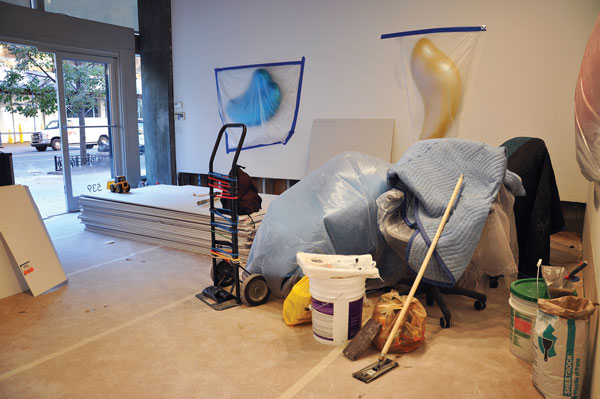 Thatcher Projects during post-Sandy repairs, with Bill Thompson's wall sculptures protected under plastic. ©2013 CLAIRE VOON