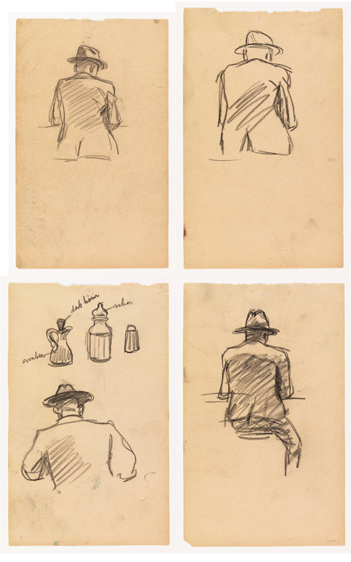 All images: Edward Hopper, Study for Nighthawks, 1941 or 1942, fabricated chalk on paper, 7 1/4 x 4 7/16 in. ALL PHOTOS COURTESY WHITNEY MUSEUM OF AMERICAN ART, NEW YORK; JOSEPHINE N. HOPPER BEQUEST 70.192. ©HEIRS OF JOSEPHINE N. HOPPER, LICENSED BY THE WHITNEY MUSEUM OF AMERICAN ART. DIGITAL IMAGE, © WHITNEY MUSEUM OF AMERICAN ART, NY.