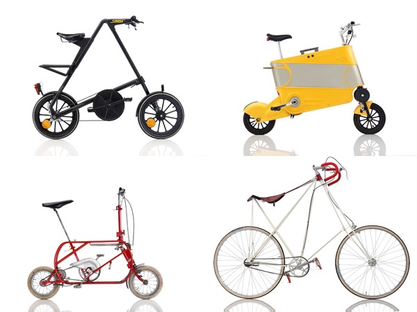 Clockwise from top left: The Strida 1, 1988 designed by Mark Sanders with a powder-coated aluminum frame, can be folded in ten seconds. Skoot International, made by Skoot in 2001, retracts into a yellow plastic frame to pass as wheeled luggage.The Tresoldi & Casiraghi Pocket Bici, 1963, made with a varnished steel frame, can be folded and put in an elliptical carrying case. Sølling, produced by Mikael Pedersen in 1978, has a varnished steel frame made to accommodate riders of any size. Its flexible saddle is suspended with a plastic-coated steel cord. PHOTO: BERNHARD ANGRER. COURTESY THE EMBACHER COLLECTION.