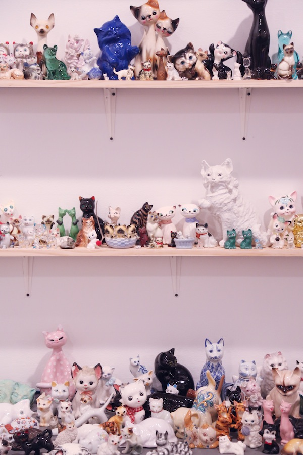 The personal ceramic cat collection of T. Cole Rachel. COURTESY OF WHITE COLUMNS. PHOTO: JONATHAN GRASSI.